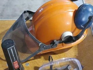 Husqvarna hard hat with face screen, earmuffs