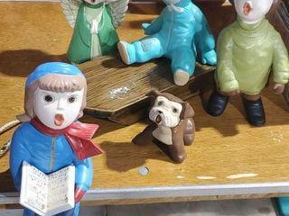 Ceramic Christmas sled, puppy, angel, carolers