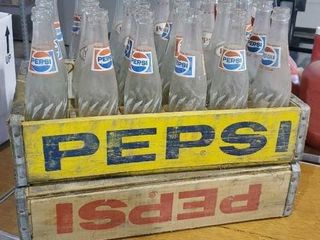 Vintage Pepsi crates with bottles
