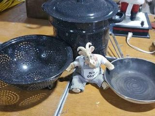 Black enamel pot, colander, saute pan, old goat
