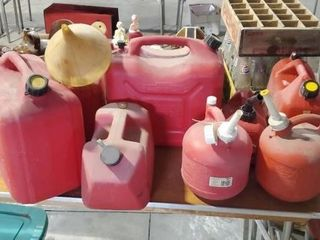 Assorted fuel cans
