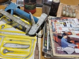 Workbench vintage magazines, Snap On puzzle, tools