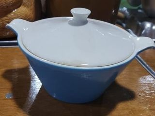 Blue vintage covered casserole dish