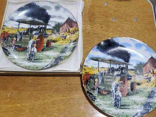 Case Threshing Scene collector plates, set of 2