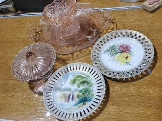 Pink serving pieces, collector plates