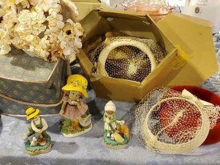 Vintage hats and porcelain figurines