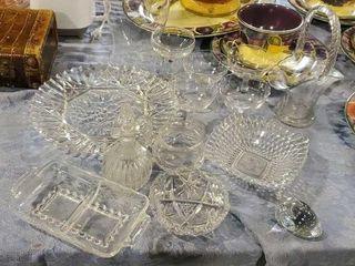 Crystal, glass serving set, wine glasses