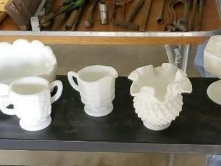 Milk glass collection, hobnail, grapevine designs