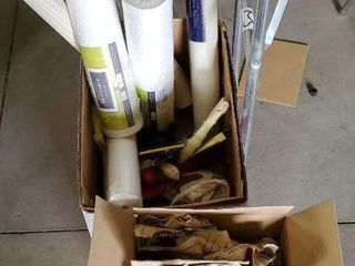 DIY lot, rolls of wallpaper, applicators, glass