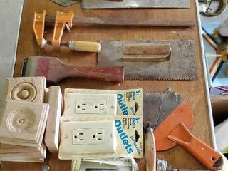 Hand tools, outlet covers, wood blocks,
