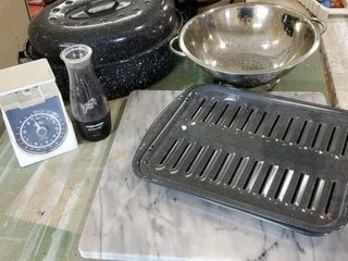 Cutting board, roasting pan, scale, colander