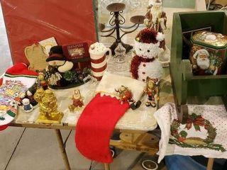 Christmas decor, wooden sleigh, stockings