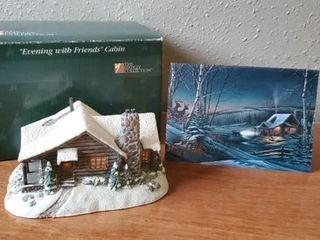 Evening with Friends Cabin Terry Redlin sculpture