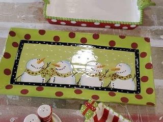 Snowman Merry and Bright serving set