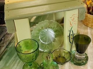 Green rustic stool, depression, assorted glassware