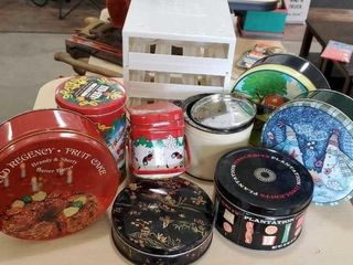 Spice rack, assorted tins
