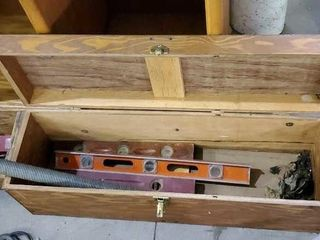 Wooden tool box, garage door spring, levels