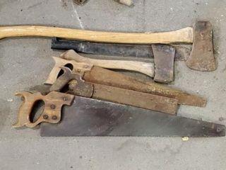 Saw, axe, machete assortment
