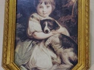 Italian vintage artwork, girl with puppy