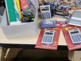 Office supplies, register tape, folders, rulers