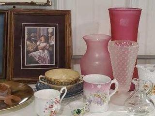 Glassware, art work, plates, relish, vases
