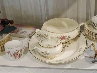 Rose collection, chafing dish, sugar dishes plates