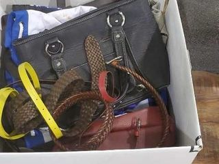 Box of bags and belts