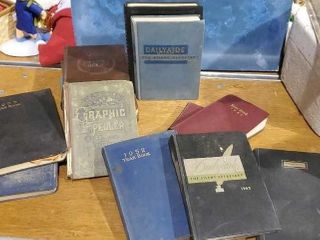 Vintage journals, yearbooks, secretary