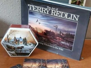 The Art of Terry Redlin book, coasters, tin