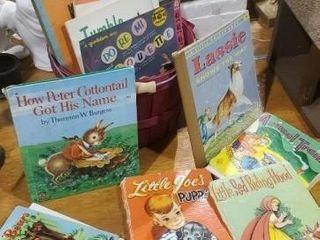 Basket of vintage children's books