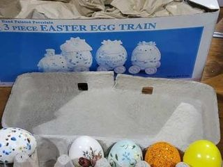 Easter train, vintage ceramic hand painted eggs