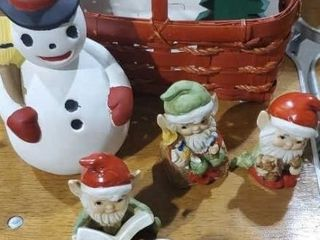Basket of vintage ceramic Christmas collectibles