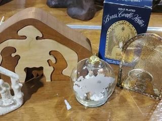 Nativity collection, brass candle holder