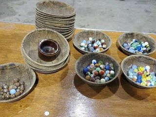 Wooden bowls with marbles