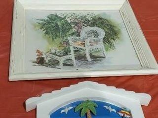 Beach hooks, artwork, wine glasses, set of 8