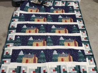 Log cabin holiday quilt