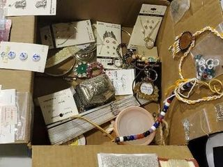 Box of jewelry and buttons