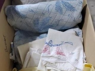 Box of linens, duvet cover, throw pillow