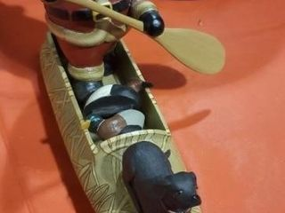 Loon Lake Santa's Canoe sculpture