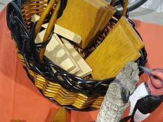 Basket of wooden ducks, woodpecker sculpture, base