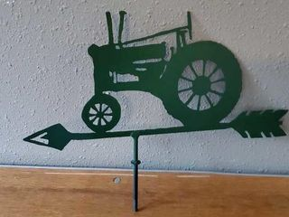 Green metal tractor weathervane