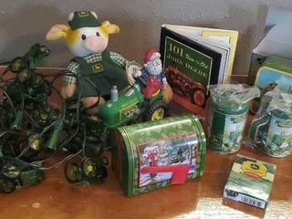 Assorted John Deere collectibles, lights, cards