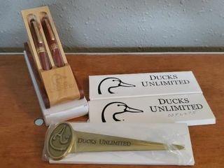 Ducks Unlimited wooden pen sets, letter openers