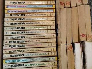 Box of Trixie Belden paperback books