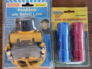 Yellow Head lamp with 2 small Flashlight