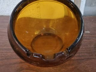 Brown Glass Bowl Type Ash Tray