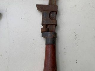 Antique Wood Handled Pipe Wrench location BP