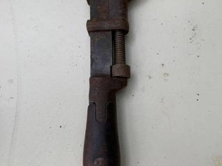 Antique Wood Handles Pipe Wrench location BP
