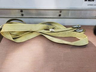 Yellow 20 Foot Tow Strap  with Hooks  Good Shape