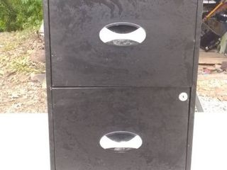 Small Metal 2 Drawer File Cabinet No Key 18x15x25